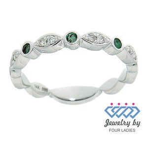 Emerald Diamond Designer Ring Jewelry White Gold